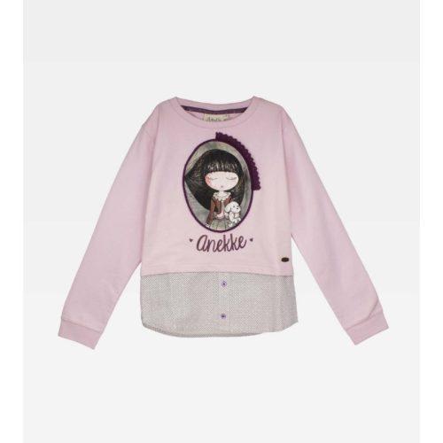 Anekke gyermek tavaszi pulcsi ing aljal, rózsaszínben