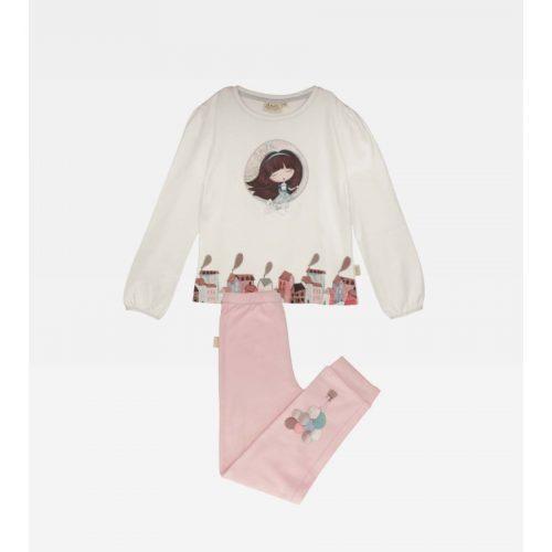 Anekke gyermek pizsama szett, bézs-rózsaszín színben